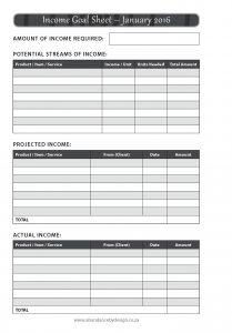 Abundance Diary 2016_Income goal sheet